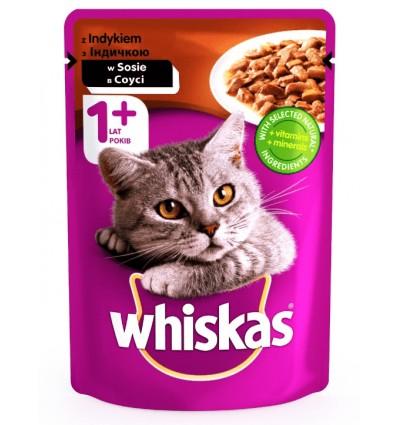 Корм для дорослих котів Whiskas з індичкою в соусі 100г